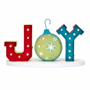 Whimsy Christmas Lighted Joy Sign - Multicolor - Benzara