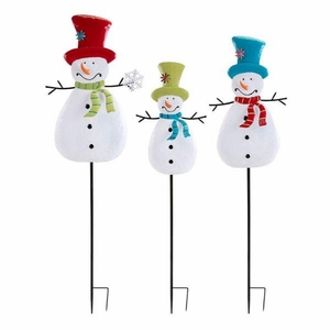 Whimsy Christmas Snowman Yard Stakes - Set of 3 - Multicolor - Benzara