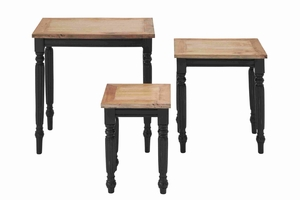 White Mahogany Wood Accent Table With Sturdy Legs (Set Of 3) - 37733 by Benzara