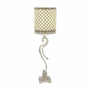 White And Golden Emery Metal Table Lamp - 44944 by Benzara