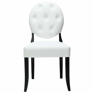 White Button Dining Side Chair