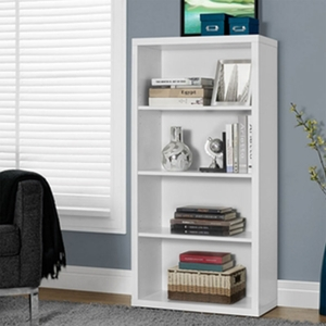 "White Hollow-Core 48""H Bookcase / Adjustable Shelves"