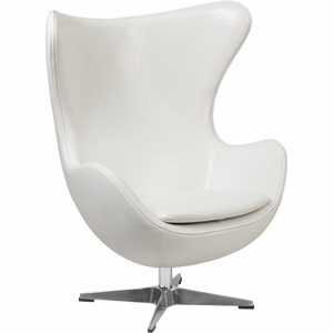 White Leather Egg Chair White - ZB-10-GG by Flash Furniture