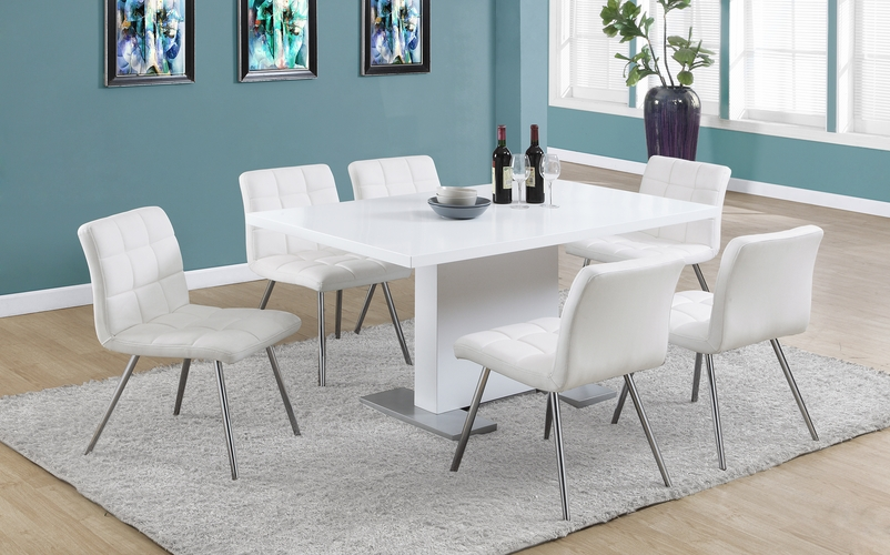 Monarch specialties inc mhs i 1071 white leather look for White leather and chrome dining chairs