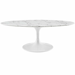 """White Lippa 48"""" Oval-Shaped Artificial Marble Coffee Table"""