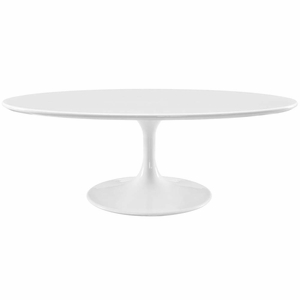 "White Lippa 48"" Oval-Shaped Wood Top Coffee Table"