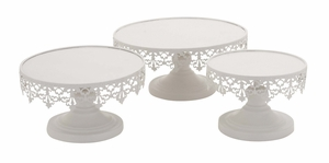 White Polished Elegant Metal Cup Cake Stand - 96998 by Benzara