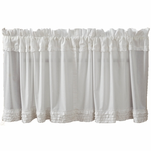 White Ruffled Sheer Tier Unlined Set of 2 L24xW36 - 10933 by VHC Brands