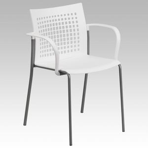 White Stack Chair White - RUT-1-WH-GG by Flash Furniture