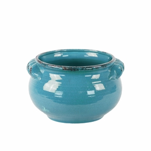 Wide Bellied Tuscan Pot with Handles Distressed-Small- Blue-Benzara