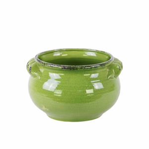 Wide Bellied Tuscan Pot with Handles Distressed-Small- Green-Benzara