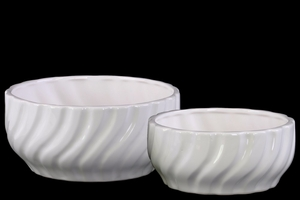 Wide Rippled Round Pot with Tapered Bottom Set of Two- White- Benzara