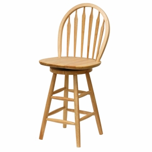 """Winsome Wood Windsor 24"""" Swivel Stool with Rimmed Back"""