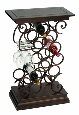 Wine Bar Table Rack with Glass and Bottle Holder in Swirl design  - 68051 by Benzara