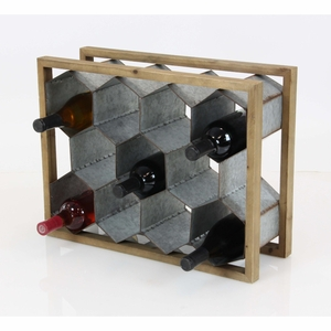 Wine Holder In Rustic Finish - 85239 by Benzara