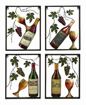 Metal Wine Decor Set Of 4 Assorted A Nice Living Style Statement - 13996 by Benzara