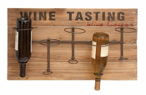 Iron Wood Metal Wine Rack - 55844 by Benzara