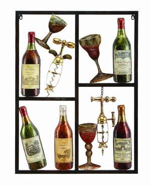 Metal Wine Decor Shows Style Of Life - 13866 by Benzara