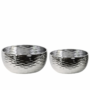 Winsome Round Pot Dimpled Set of Two- Silver- Benzara
