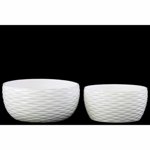 Winsome Round Pot Dimpled Set of Two- White- Benzara