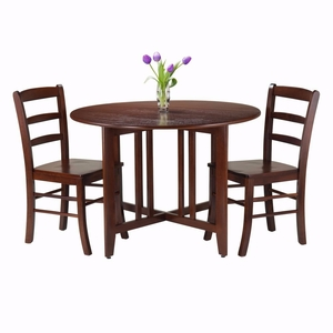 Alamo 3-Pc Round Drop Leaf Table with 2 Ladder Back Chairs