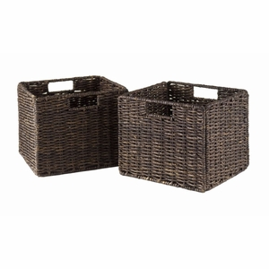 Granville Foldable 2-pc Small Corn Husk Baskets, Chocolate