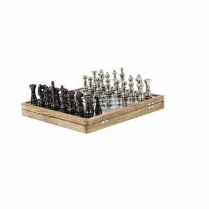 Wonderful Chess Set Game In Mango Wood, Black And Silver - 28551 by Benzara