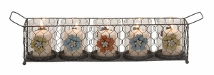 Wonderful Styled Metal Glass Candle Holder - 18125 by Benzara