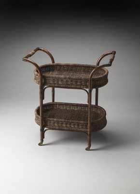 Wonderful Styled Viti Rattan Serving Cart by Butler Specialty