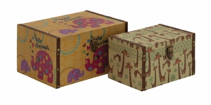 Wonderful Styled Wood Canvas Box - 86874 by Benzara