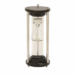 Wood Aluminum Glass Floating Sand Timer - 24538 by Benzara
