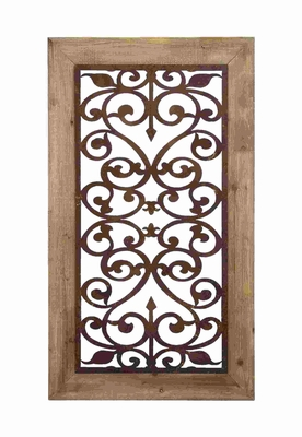 Garden Style Wall Plaque With Scrolling Ironwork - 85971 by Benzara