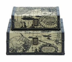 Square Shape Traveling Boxes With Ancient World Map - 53866 by Benzara