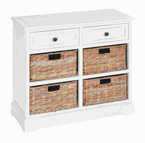 Basket Cabinet with Fine Detailing in Exclusive White Color - 96191 by Benzara