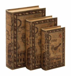 66755 Library Storage Books - Wood Book Box Set/3 - 66755 by Benzara