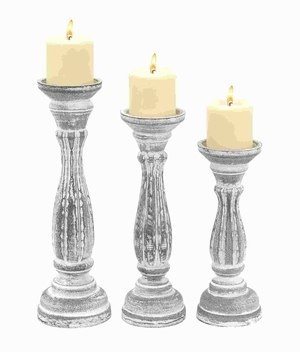 Candle Holder in Classic Design with Solid Base - Set of 3 - 98761 by Benzara