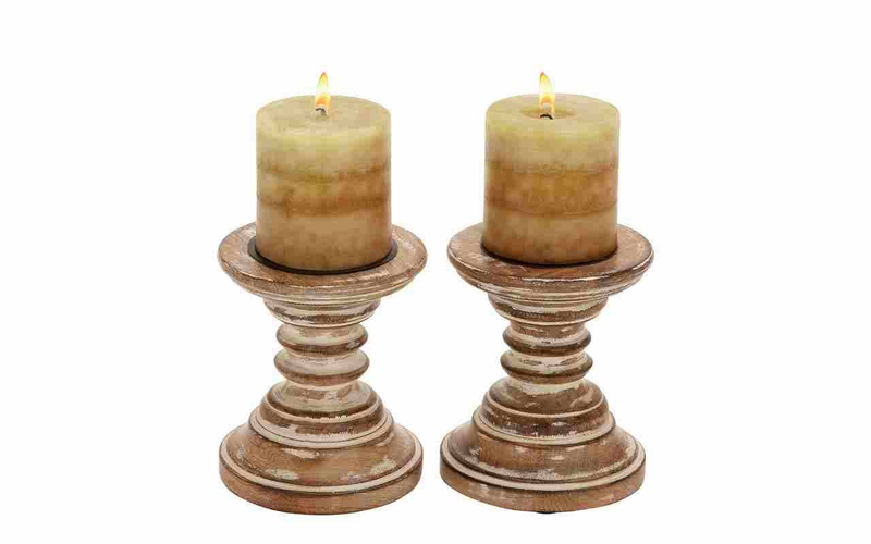 Benzara 51513 wood candle holder pair shabby brown shade Wood candle holders