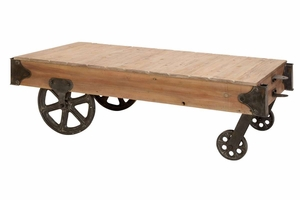 Wood Cart Coffee Table Utility Item Used Often - 51659 by Benzara