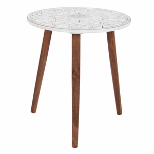 Wood Carved Tripod Accent Table - 98777 by Benzara