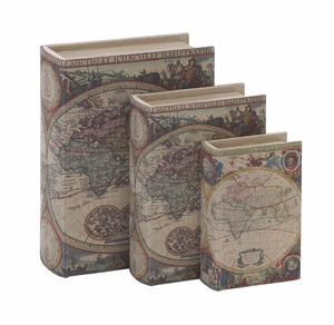 Library Storage Books - Wood Fabric Box Set/3 - 54117 by Benzara