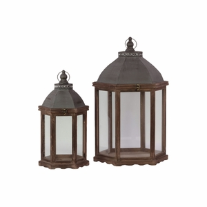 Wood Hexagonal Lantern with Cast Iron Top- Set of Two- Brown- Benzara