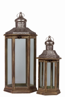 Wood Hexagonal Lantern with Pierced Metal Top - Brown - Benzara