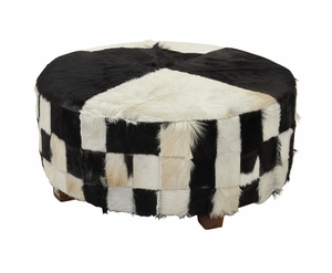 Wood Hide Large Ottoman - 37790 by Benzara