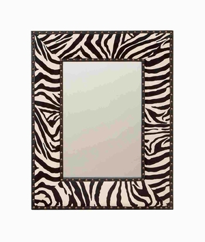 VARNISHED WOOD LEATHER MIRROR 24 INCHES WIDE - 72004 by Benzara