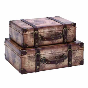 """WOOD LEATHER SUITCASE S/2 16"""", 14""""W"""
