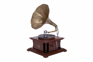 Wood Metal Gramophone An Excellent Homedecor - 36313 by Benzara