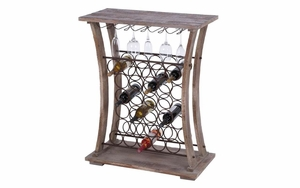 Tall Wood Metal Wine Bar - 51856 by Benzara