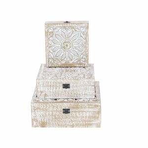 Wood Parque Box With Distressed Finish, Set Of 3 - 96097 by Benzara