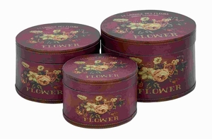 Wood Round Box In Floral Motifs And Maroon Finish (Set Of 3) - 62267 by Benzara