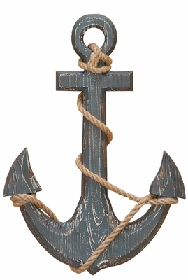WOOD ANCHOR WITH ROPE NAUTICALdecor - 91620 by Benzara
